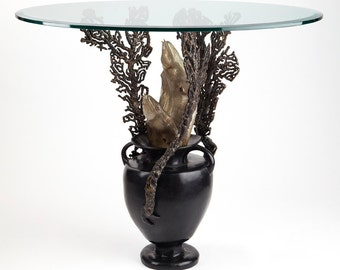 Bronze sculpture amphora with coral & moray eels dining/entry table