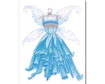 Girl Wall Art Print Princess Fairy Blue Dress, Baby Girl Nursery, Girl room Decor, Girl Nursery Decor, Girls Wall Art, Kids Nursery Decor