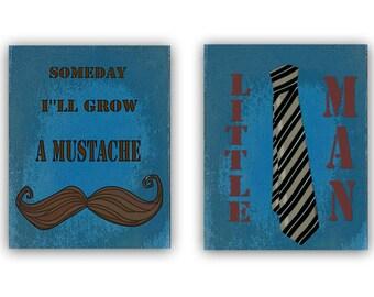 Kids Wall Art, Mustache Nursery, Little Man Nursery, Someday i'll grow a mustache, SET OF 2 Prints, Boys room Decor, Boy Nursery Wall Art