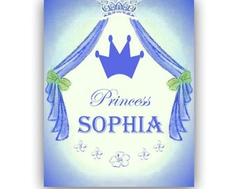 Girl's Princess Wall Art, Custom Name Children's Art Print, Princess room Decor, Baby Girl Princess Nursery Art, Children Princess Art