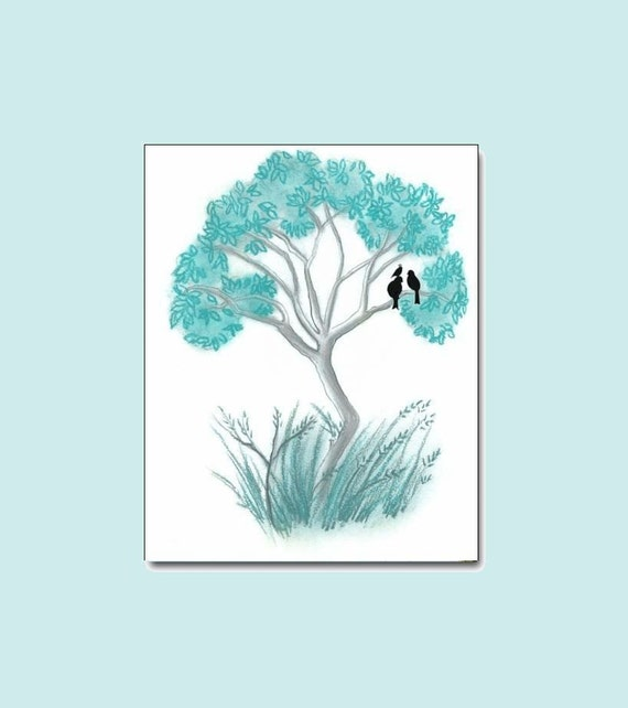 Tiffany Blue Wall Paint: Tiffany Blue Tree Nursery Wall Art Baby Nursery By
