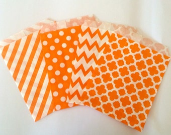 Orange Party Favor Bags 5x7 Paper Treat Bags Candy Buffet Party Favor Wedding Favor Bags Goodie Bags Popcorn Bakery Bags- 20 count