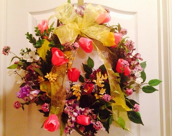 Summer Wreath, Front Door Colorful Wreath, Spring Home Decor, Spring Wreath