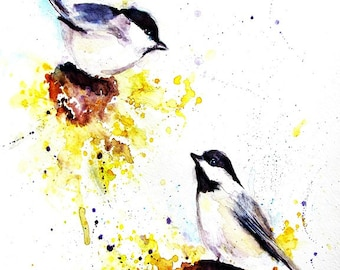 Chickadee Painting - Bird Art - Sunflowers - Watercolor Painting - Print- Watercolor Art Print