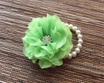 Wrist Corsage, Chiffon Flower Corsage (Lime Green), Lime Green Corsage, Chiffon Rose corsage