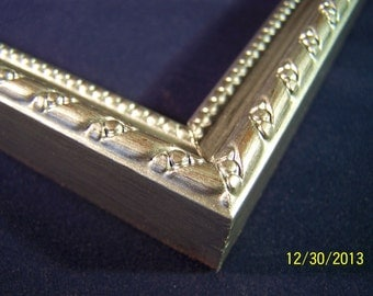 11 x 14 Made to Order Picture Frame ~ Ornate Rope and Bead ~ Hand Painted ~ Sterling Silver Metallic Accent ~ 5/8 inch wide Moulding