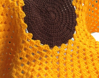 Sunflower Crochet Baby Blanket/Playmat