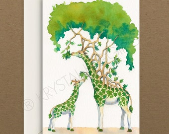 "Giraffe and Baby ""Self-Sustenance"" Card - Blank Inside"