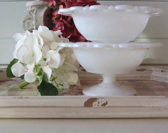 Milk Glass Bowls, Compote Dish, Candy Dish, Wedding Decor, Set of TWO, Shabby Chic