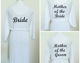 Bride Robe. White Terry Robe.  Bridesmaid, Maid of Honor, Matron of Honor, Mother of Bride Groom, Mother of the Bride. Bridal Robe