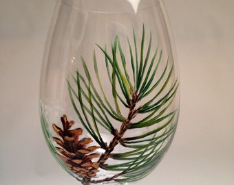 Set of 2 Pine Cone Wine Glasses, Pinecone wine glasses, Woodland Wine Glasses,Pine Tree Wine Glass,Forest Wine Glasses,Mountain Wine Glasses