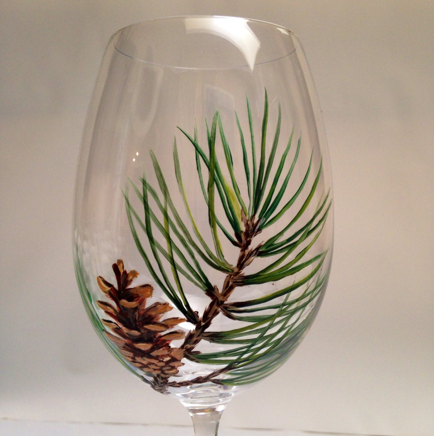 Set of 2 Pine Cone Wine Glasses Pinecone wine glasses