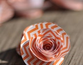 Orange Chevron Paper Flowers