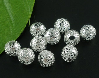 10 pieces Silver Plated Hollow Filligree European Spacer Beads, 10mm