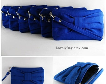 SUPER SALE - Set of 5 Royal Blue Bow Clutches - Bridal Clutches, Bridesmaid Gift - Made To Order