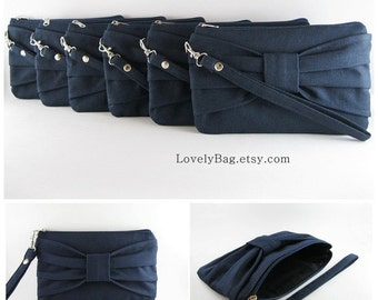 SUPER SALE - Set of 6 Navy Bow Clutches - Bridal Clutches, Bridesmaid Clutch, Bridesmaid Wristlet, Wedding Gift,Zipper Pouch - Made To Order
