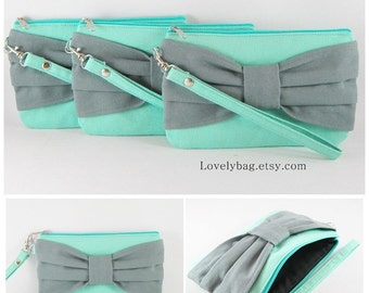 SUPER SALE - Set of 6 Wedding Clutches, Bridesmaids Clutches / Mint with Gray Bow Clutches - Made To Order