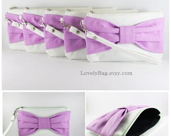SUPER SALE - Set of 8 Ivory with Lavender Purple Bow Clutches - Personalized Monogram Zipper Pull, Bridal Clutches, Wedding - Made To Order