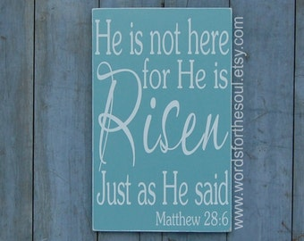 Scripture Wall Art - Rustic Wood Signs - Bible Verse Wall Art - Matthew 28 6 - Christian Wall Art - He is Risen - Wall Hanging Decor - Home