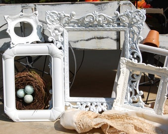 White Vintage Collection Frames Wedding Nursery Shabby Chic Frame Collage Picture Frame Set