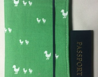 Laminated Passport Wallet - Green- Duckling Silhouette- Elastic Closure- Plastic Card slot and 2 Card Pockets