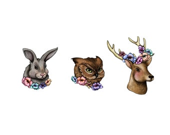 Floral Woodland Creatures limited edition temporary tattoo artist Amanda Whitelaw