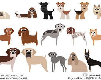 Dogs and Friends clip art part 4 for Personal and Commercial use - INSTANT DOWNLOAD