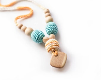 Yellow- Turquoise Crochet Nursing Necklace- Juniper Breastfeeding Necklace with Pendant- Teething necklace with crochet beads-Mommy Necklace