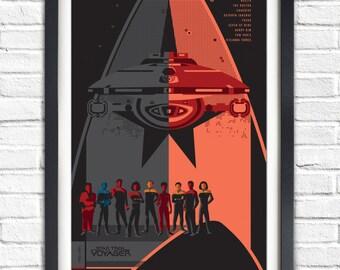 Star Trek Voyager Series - All Voyager crew  - 19x13 Poster