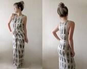 Hand Printed Jersey Wrap Dress - 'Tarot' print - Stone