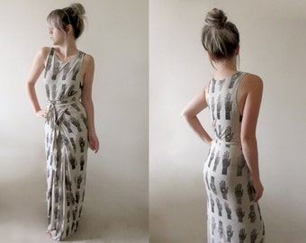 Hand Printed Jersey Wrap Dress - 'Tarot' print - Stone