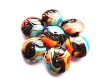 Colorful Murano Glass Beads 20mm Multicolored Lentil Coin beads Glass Beads Jewelry Supplies 2 pcs.