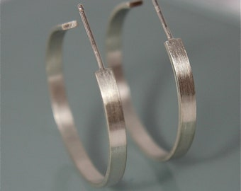 """1"""" Silver Hoops Perfect Earring Recycled Sterling Silver Flat 1"""" Open Back and Post Brushed Matte Finish"""