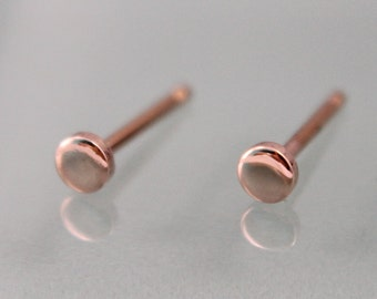 Rose Gold Stud Earrings 14k Tiny Circle Dot Disk 3mm 14k SOLID Rose Gold Shiny Finish Recycled Eco Friendly Gold