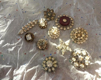 Vintage Rhinestone Shank Button Lot of 11