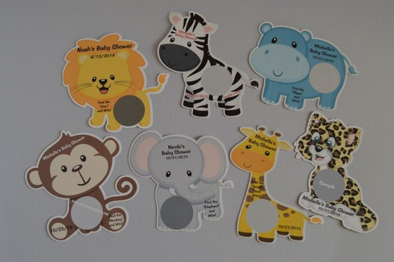 Unique Personalized Baby Shower Jungle Animals Scratch Off Lotto Game Card, Lion, Zebra, Elephant, Giraffe, Monkey, Hippo or Cheetah