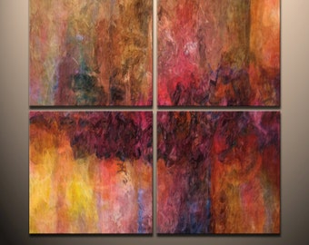 """HUGE 4 piece Quadtych Abstract canvas wall art giclee print  fully stretched and ready to hang   """"Spring Bloom"""""""
