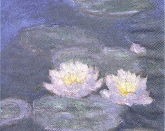 Monet - Waterlilies in the evening light art napkin Decoupage
