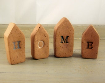 Memorial Cremation Keepsake Miniature House - Custom Handmolded Personalized Pottery Pet Cremains Sculpture - Choose Letters, Size & Colors