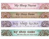 Premade LOTUS Etsy Banner Set CHOICE of COLOR digital files