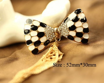 1pcs Bling Crystal Tassel Bowknot Flatback Alloy jewelry accessories materials supplies