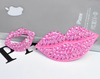 Bling Crystal Rhinestone Lips Lipstick flatback Alloy jewelry For Phone case deco