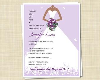 20 Bridal Shower Invitations - African American - Elegant Bride - Spring Summer - PRINTED