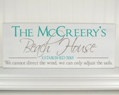 Carved Custom Beach House Sign -Wood Personalized Family Name Sign with Established Date & Beach Quote -Lake House Decor