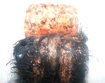 Scarf Slide Set of 2 Fiber Ring Scarf tie Pareo ring Jumbo dread bead Orange brown Black copper