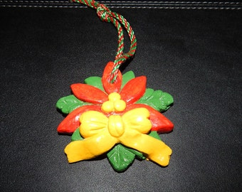 Hand Painted Poinsetta Ornament