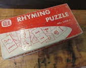 Vintage Rhyming Puzzle Sight Word Cards Ideal Childrens Game