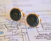 Vintage Geo Mod Round Black Carved  GoldTone Mad Man Cufflink, Retro Black GoldTone Cufflinks, Black Gold Cufflinks-Wedding-Suits- Free Ship