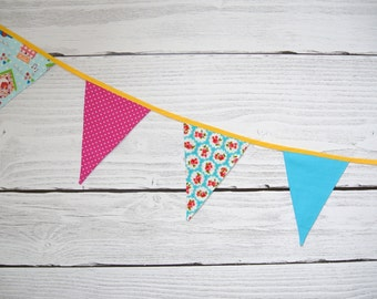 shabby fabric garland, banners, bunting in pink, turquoise and yellow