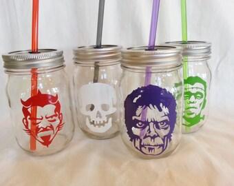 HALLOWEEN PARTY Mason Jar Drinks Devil Skull Frankenstein Frankie Zombie with Reusable BPA Free Straws 4